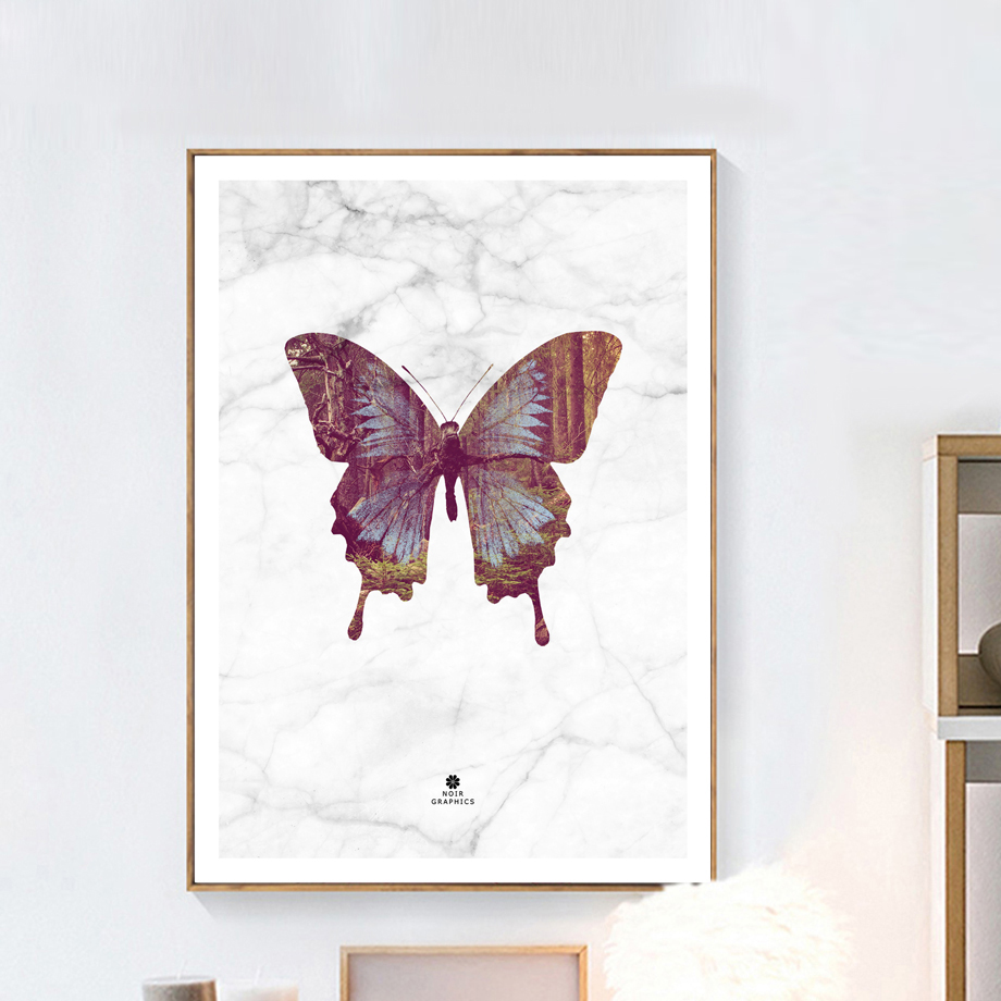 Unframed Butterfly World Map Nordic Painting Poster And Prints Wall