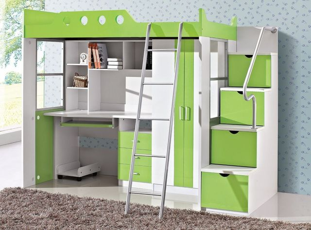 Jonge kinderen bed multifunctionele bed bureau garderobe