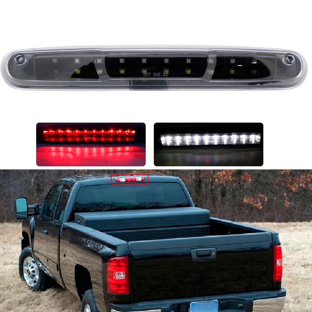 For Gmc Sierra High Mount Dual Row Led 3rd Brake Cargo Light Black Housing Clear Lens Chevy Silverado Rear Tail