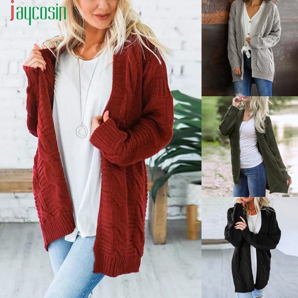 Open Front Cardigan Sweaters Women's sweater knitted Long Sleeve Knitwear girl Casual Outerwear 2018 winter pull femme plus SE08