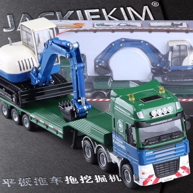 2 Pcs/set 1:50 Pompa Kdw Alloy Diecast Engieering Kendaraan Mobil Model Platform Truk Mesin Penggali untuk Mainan Anak