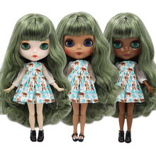 Hair Blyth-Doll Articulated Doll-Joint-Body DBS ICY Silver Mix Bjd 30cm Green 1/6