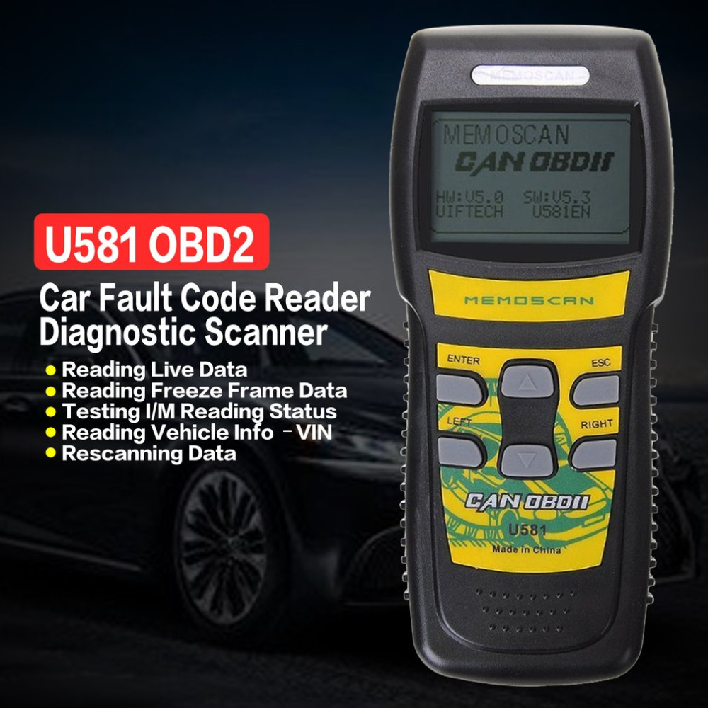 U581 OBD2 OBDII Car Engine Automotive Fault Code Reader Diagnostic Scanner CAN BUS Scan LCD Display Car Diagnostic Tool u280 1 5 lcd vw audi car diagnostic code reader memo scanner
