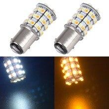 цена на New! 2PCS 12V 1157 BAY15D 3157 7443 3528 60 SMD Dual Color Yellow/White Switchback Car Turn Signal Brake LED Light Bulb Lamp