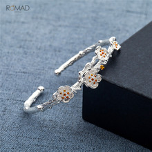 Romad Silver Plated Bracelet Flowers For Women Girl Fashion Jewelry Opening Charm Bracelets & Bangles Statement Gift W3