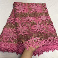 Fuchsia Pink African French Lace Mix Guipure Cord Lace Borders Great Tulle Fabric With Stones 5 Yards For Lady Dress 30