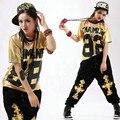 Новая Мода Хип-хоп топ женский Джаз износ производительности костюм случайные Дамы Письмо Свободные электрооптический Золото 68 танец футболка