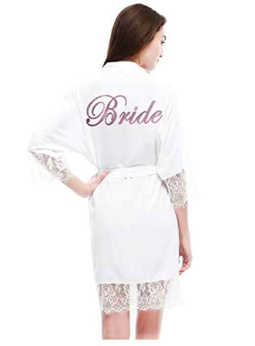 Халат для подружки невесты из хлопка и шелка, женское кимоно с кружевной отделкой, ночная рубашка, ночная рубашка, атласный короткий халат, индивидуальные шелковые халаты