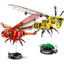 3 Kinds Simulated insect Figures Blocks DIY Red Dragonfly Bee Model Building Technic Bricks Educational Toys for Children