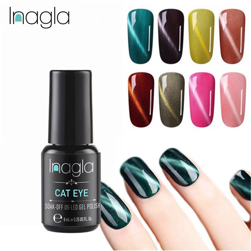 Inagla 8ML Cat Eye Long-lasting Gel Nail Art Magnetic Soak Off LED UV Polish 58 Colors Lacquer Gelpolish
