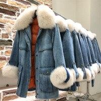 Denim Parker Jackets And Coats Women Thick Warm White Duck Down Coat Long Outwear Female Detachable Real Fox Fur Liner