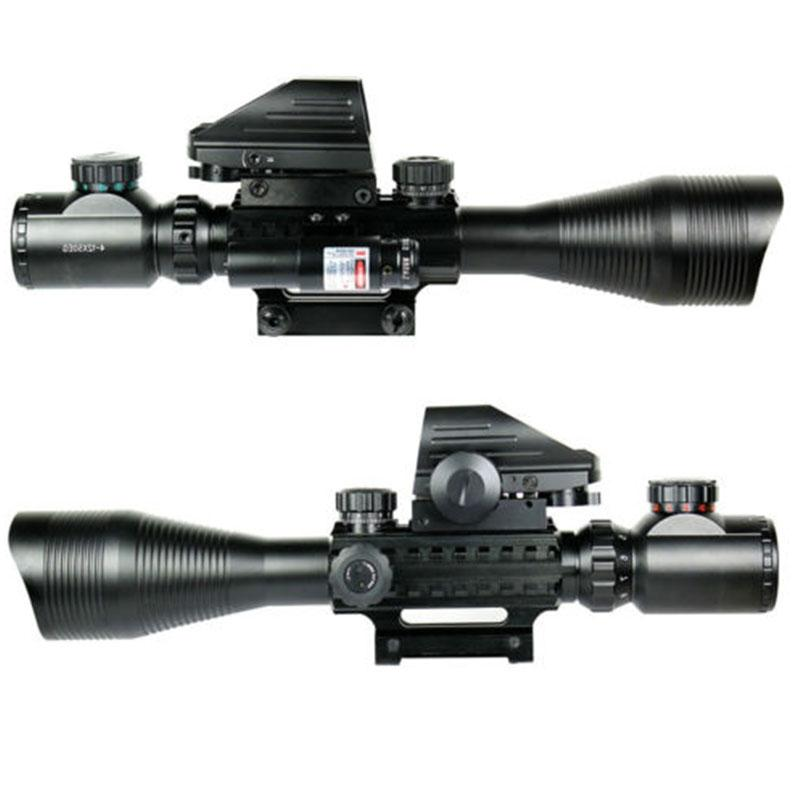 DSstyles Tactical 4-12X50EG Red & Green Illuminated Rifle Scope w/ Holographic 4 Reticle Sight & Red Laser JG8 3 10x42 red laser m9b tactical rifle scope red green mil dot reticle with side mounted red laser guaranteed 100%