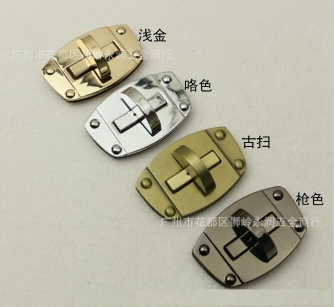 (10 Pieces/lot) Factory Wholesale Bags Handbag Metal 4 Color Square Twist Lock Decorative Buckle Hardware Accessories