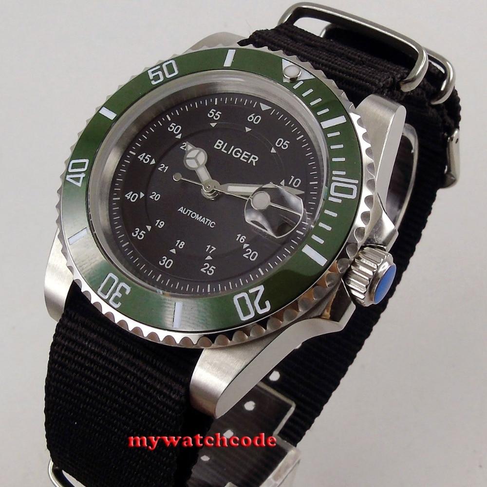 лучшая цена 40mm bliger black dial green caremic bezel sapphire crystal automatic movement mens watch