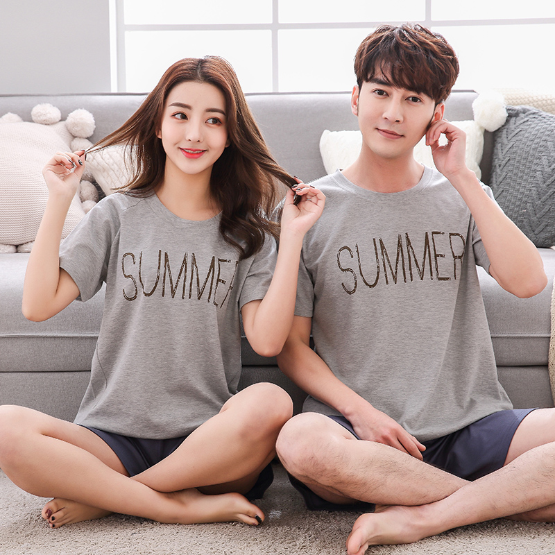 SusanDick 2018 Couple Pajamas Cotton Summer Men And Women Sleep T-shirt Short Pants Pijamas Sleepwear Lover Home Cute Night Suit
