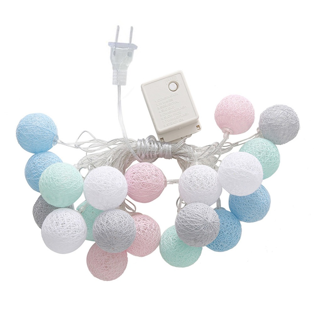 20 LEDs Christmas Decorative Cotton Ball String Light Warm White EU/US Plug XMas Decoration Lighting Party Wedding Supply Light