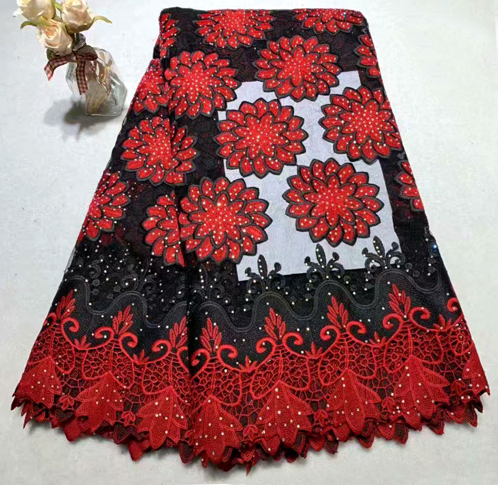 Newest style Black+Red African lace fabrics 5yard guipure lace fabric  high quality african cord lace fabric for wedding dressesNewest style Black+Red African lace fabrics 5yard guipure lace fabric  high quality african cord lace fabric for wedding dresses