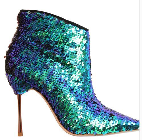 New Stylish Sequined Wedding Party Dress Shoes Women Pointed Toe High Heel Booties Mujer Bling Bling Multicolored Ankle Boots collins picture atlas
