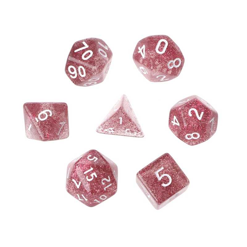 7Pcs Twinkling Polyhedral Dice For Dragon Pathfinder D20 D12 2xD10 D8 D6 D4