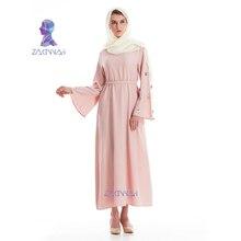 Модные Абаи для женщин мусульманин Исламская одежда с длинным рукавом платье с поясом Дубай Кафтан турецкий, мусульманское платье