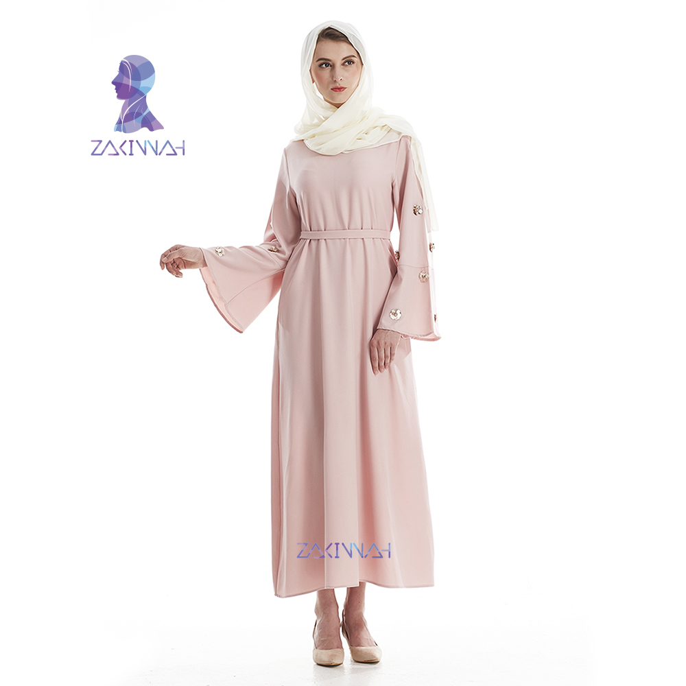 2816c287bb14c2 Beste Koop Mode Abaya voor vrouwen Moslim Islamitische kleding Lange mouwen  Jurk met riem dubai Kaftan Turkse Dames solide Moslim Jurk Goedkoop