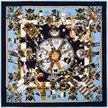 Mujeres Bufanda de Seda Twill Euro Gnomos Impresión Cuadrada Bufandas 100*100 Regalo de Las Mujeres de Moda de Marca de Alta Calidad de Seda Grande Mantón de las bufandas
