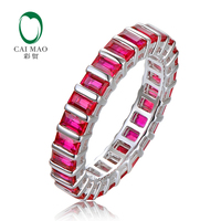 Full Eternity Antique 14kt White Gold With 2.78ct Baguette Cut Ruby Engagement Wedding Band