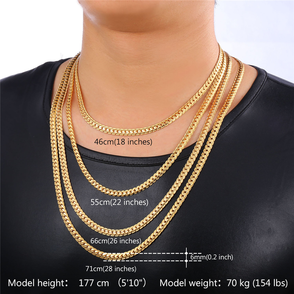 Men Chain Necklace Punk Black Gold color Cuban Necklaces Men