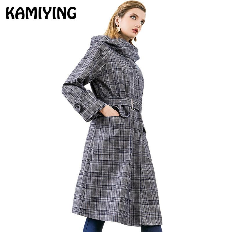 KAMIYING longueur moyenne Style gris et bleu à carreaux manteau 2018 nouveau hiver à capuche à manches longues lâche coupe-vent pour femmes PKHC518