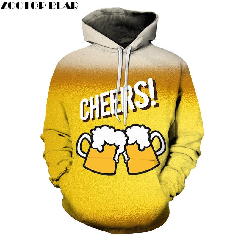2019 Anime Men Hoodies beer Cool Sweatshirt Brand CHEERS Sudadera 3d Pullover Casual Tracksuits Drop Ship Long Sleeve ZOOTOPBEAR