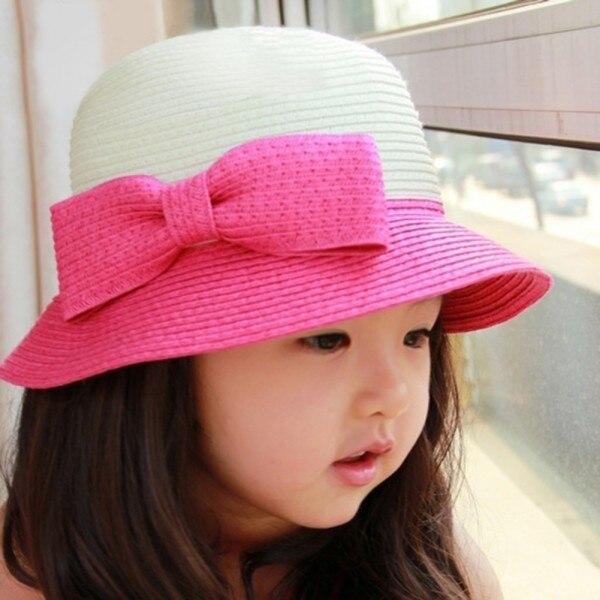 5 цвета малыш ковша Hat девушка детям бантом соломы вс шляпы ребенок пляж крышка