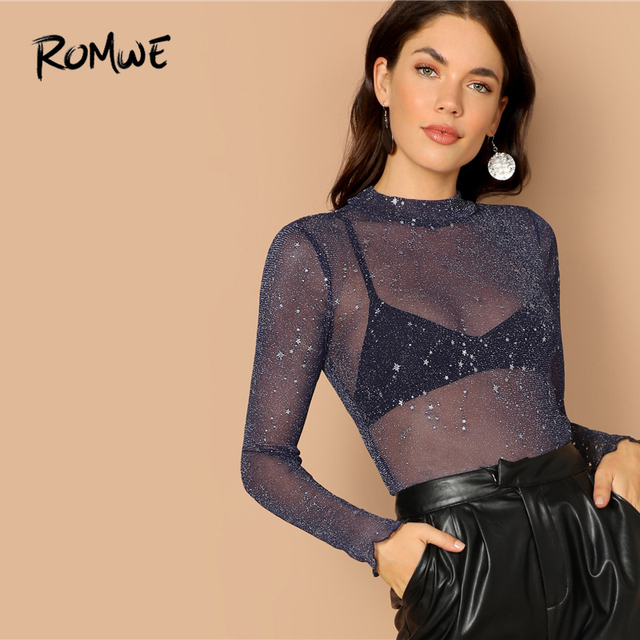ROMWE Mock-Neck Lettuce Hem Glitter Mesh Top 2019 Blue Stand Collar Long  Sleeve Sexy Women Lettuce Trim Spring Autumn Blouse 29fffa12339c