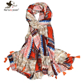 [Marte&Joven] 180*100 cm Orange Tassel Patchwork Soft Thin scarves and shawls For women