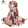 [Marte y joven] 180*100 cm orange patchwork borla suave delgada bufandas y chales para las mujeres
