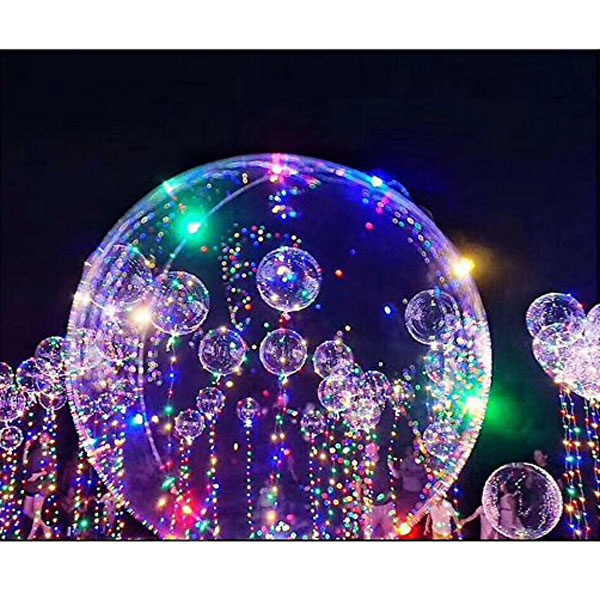 Clear Bobo Balloons with Copper LED Light Bar, String Light Creative Balloon for Birthday Wedding Christmas Party Halloween