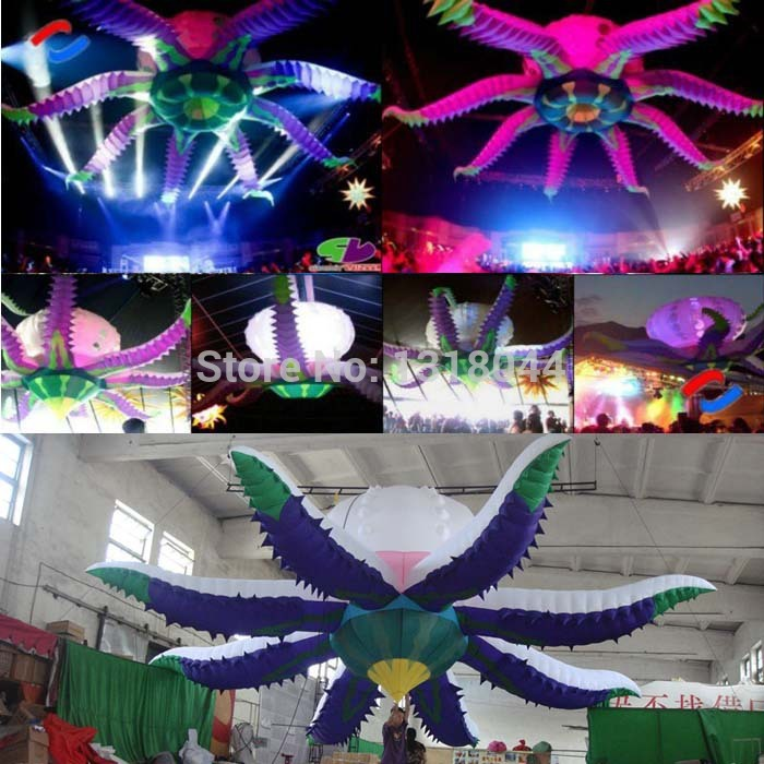 Purple Night Club Wedding Decoration Giant Inflatable Flower With Led Lights For Events Dhl Free Shipping In Party Diy Decorations From Home