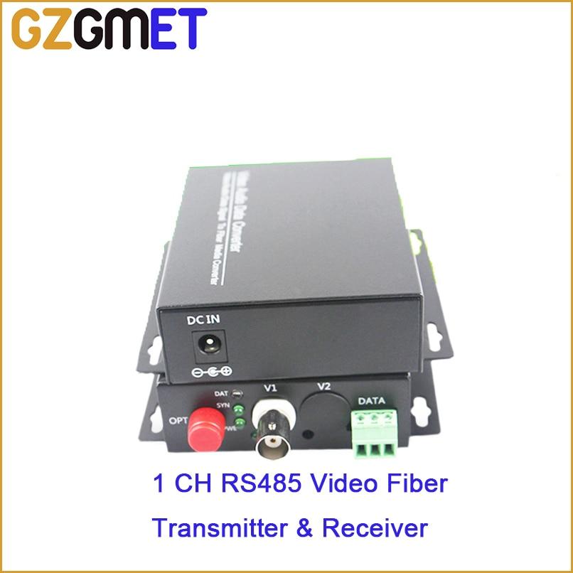 GZGMET 20Km 1 Channel Video Extender Single Mode Fiber Optic Media Converter Video RS485 Data EXTENDER