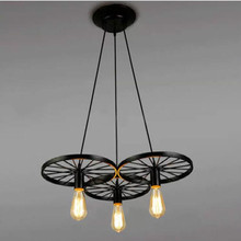 Vintage Iron Loft Light 1,3,6 Head Wheels Pendant Light Bar Lamp Living Room Lamps Coffee Shop Lights Free Shipping стоимость
