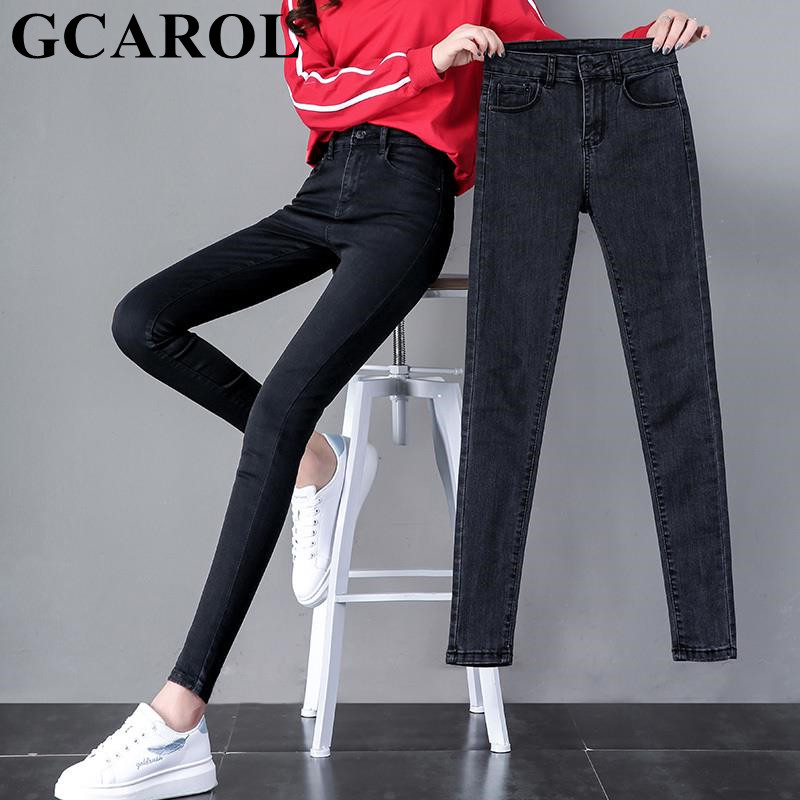 GCAROL New Spring Fall Women Pencil Denim Pants High Waisted Stretch High Street Slim Basic Jeans In 3 Colors Plus Size 25-32