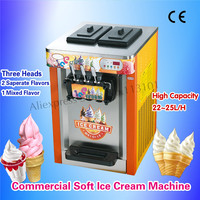 Desktop Soft Ice Cream Making Machine Colorful Appearance Stainless Steel Digital Control System 22~25L/Hour Three Nozzles