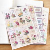 24pc Retro Nostalgic Decoration Travel Tape Sticker Sheets DIY Scrapbook Notebook Label Notes Post Stationery Stamp
