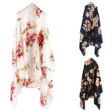 3 Colors Women Outdoor Vest Style Shawl Hollow Out Bikini Cover Up Vintage Gorgeous Floral Printed Wrap Skirt Cardigan High Low