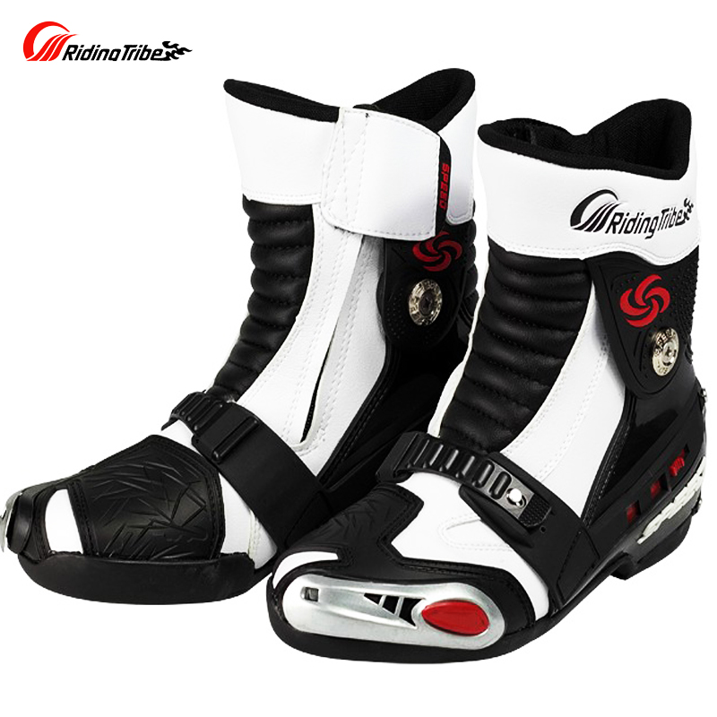 Riding Tribe Motorcycle Microfiber Leather Racing Boots Motocross Motorbike Riding MIDDLE Calf Boots Match Special Shoes riding tribe speed motorcycle boots pu leather mid calf boots breathable motocross off road racing shoes botas de motociclista