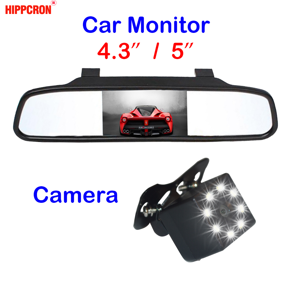 Hippcron Car Rear View Camera + Car Mirror Monitor 2 In 1 Night Vision Car Parking System 4.3 Inch And 5 Inch HD Display(China)