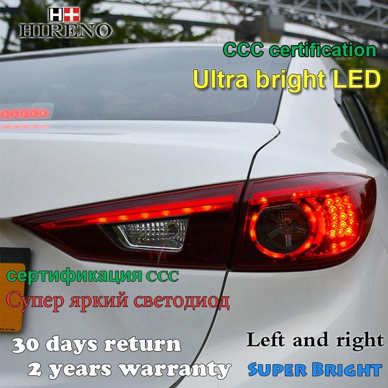 Hireno Tail Lamp for Mazda Mazda3 Axela 2014 2015 2016 Taillight Rear Lamp Parking Brake Turn Signal Lights hireno tail lamp for mazda mazda6 2003 12 taillight rear lamp parking brake turn signal lights