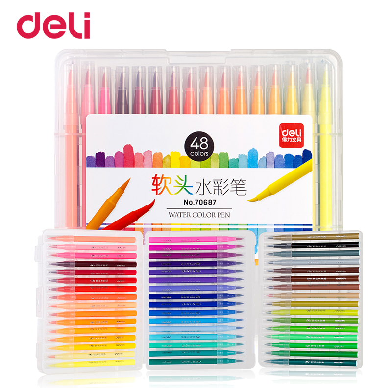 Deli quality 12/24/36/48 colors soft head marker pen set for school kid drawing supply professional art brush markers gift liner