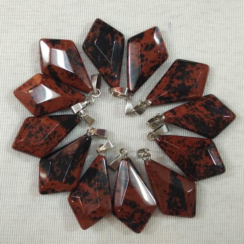 Wholesale 12pcs//lot Hot Fashion natural stones water drop rhombus Charm pendants