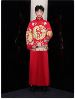 New Groom Vintage Loose Cheongsam Traditional Chinese Wedding Gown Satin Qipao Embroidery Dragon Costume Vestido Oriental Mens