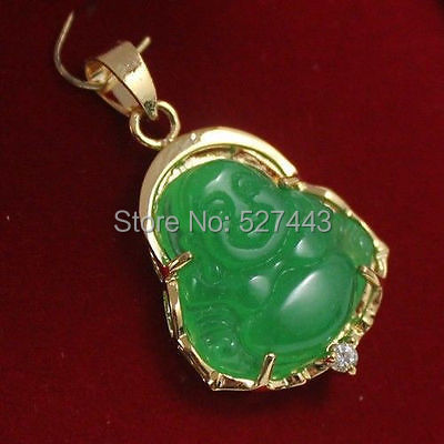 a4af6dc6c5255 US $9.51 25% OFF|WholesaleLAN021 >>>>>New Lucky Green stone 18KGP Crystal  Buddha Pendant+Free Necklace-in Pendants from Jewelry & Accessories on ...