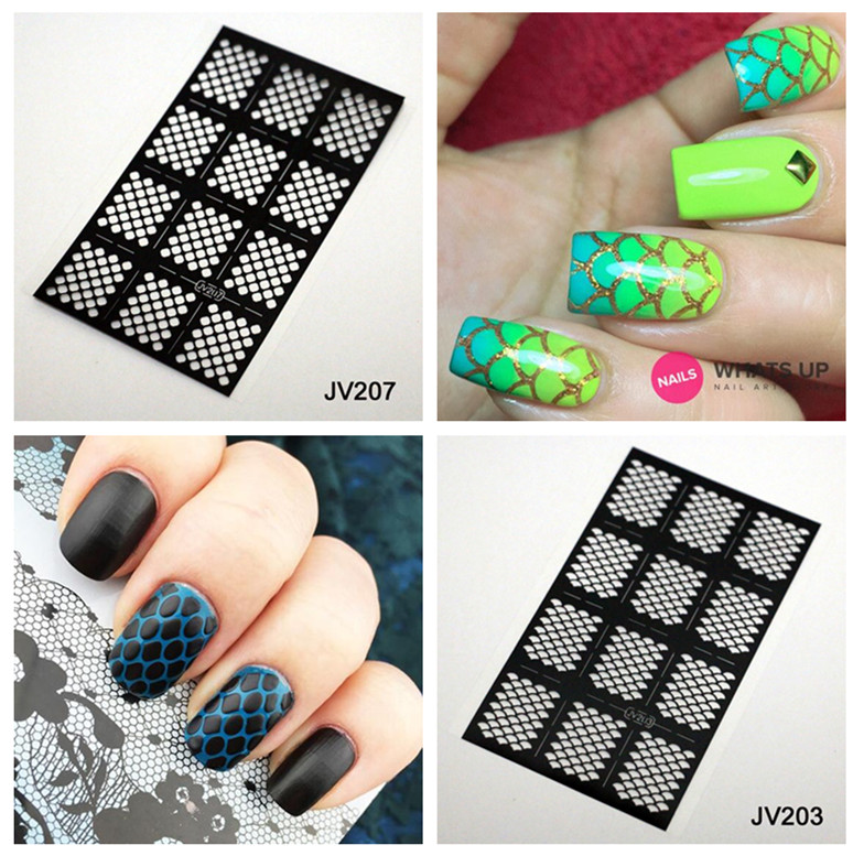 12pcs sheet nail stencil mermaid tail nail vinyl reusable nail stencil easy use image gel. Black Bedroom Furniture Sets. Home Design Ideas